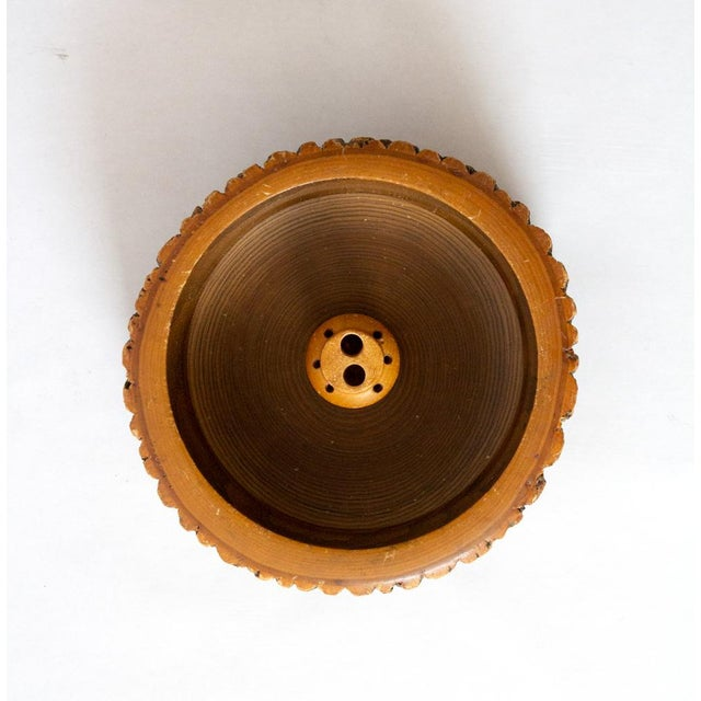1940s Vintage Circular Wood Nut Bowl For Sale - Image 4 of 6