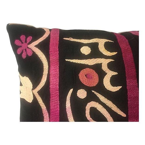 Antique Suzani Fragment Pillow - Image 4 of 6