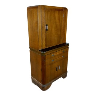 Art Deco Original 1930s Walnut Dental Cabinet For Sale