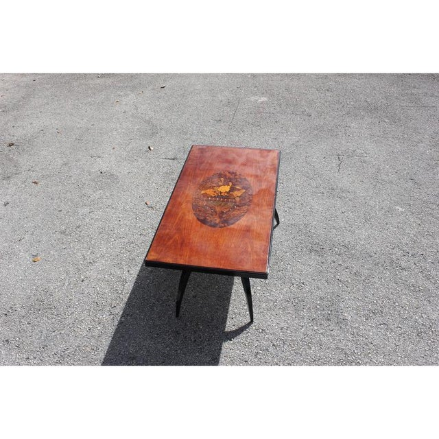 1930s French Art Deco Mother-Of-Pearl & Mahogany Accent Table For Sale - Image 10 of 12