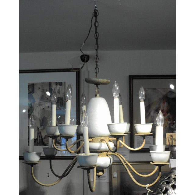 Antique Metal & Ceramic Chandelier - Image 2 of 11