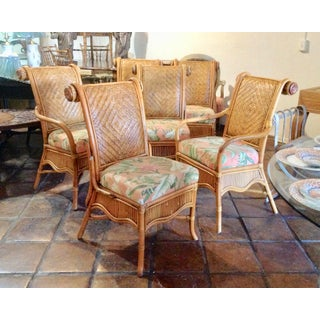 Set of 6 Colonial Style Rattan Dining Chairs Preview