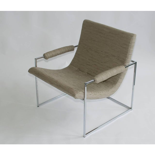 Pair of Petite Milo Baughman chrome lounge chairs. Newly upholstered. Knoll fabric.