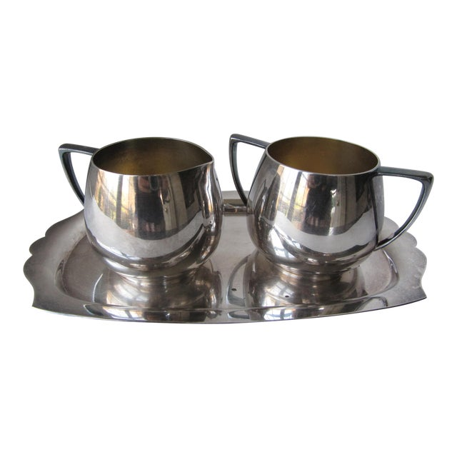 9ce71bf36139 Vintage Silver-Plate Cream   Sugar Service on Tray- 3 Pieces For Sale