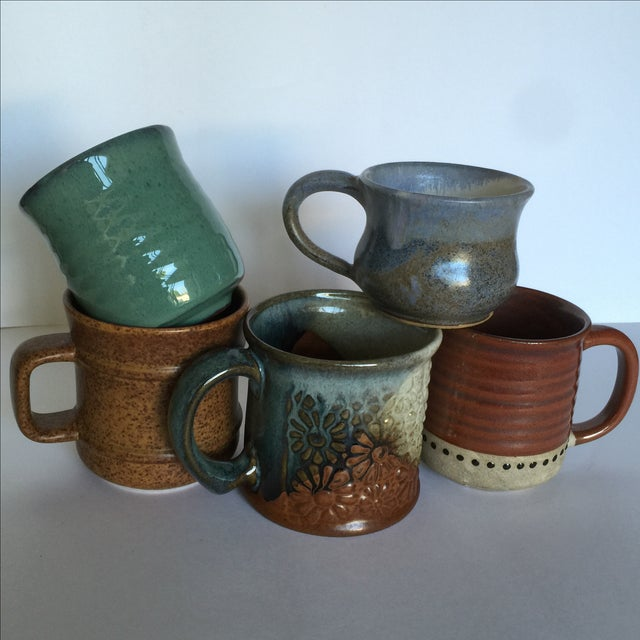 Vintage Pottery Mugs - Set of 5 - Image 2 of 11