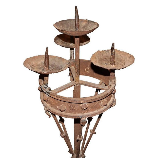 Gothic Early 19th Century Spanish Forged Iron Candleholders - a Pair For Sale - Image 3 of 7