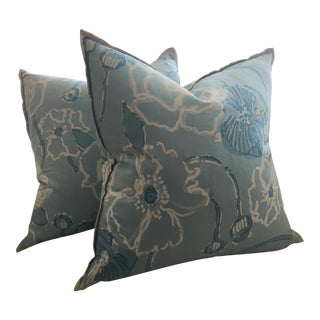 "Lilly Pulitzer for Lee Jofa ""Dahlia"" in Skye Blue Pillows - A Pair For Sale"