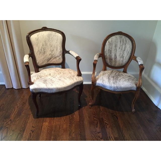"""Gold French Hide Upholstered """"Hers"""" Bergere Chair For Sale - Image 8 of 9"""