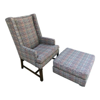Mid-Century Modern Lilac Wingback Chair and Ottoman For Sale