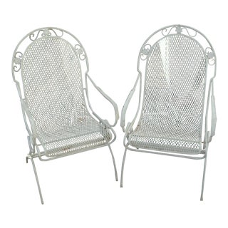 20th Century Art Nouveau Woodard Daisy Bouquet Style High Back Chairs - a Pair For Sale