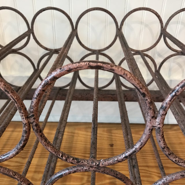 Coffee Wrought Iron Wine Rack Console Table For Sale - Image 8 of 13