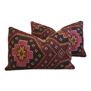 """Woven Floral Turkish Carpet Feather/Down Pillows 24"""" X 16"""" - a Pair For Sale"""