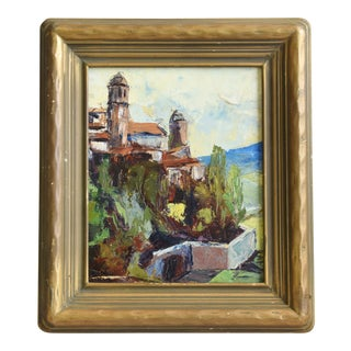 1930's Italian Landscape Oil Painting For Sale