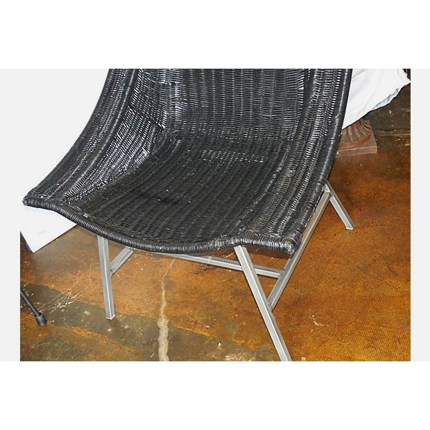Modernist Wicker & Aluminum Lounge Chair - Image 6 of 6
