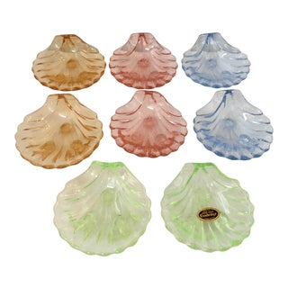 Vaseline Glass Sea Shell Dishes - Set of 8