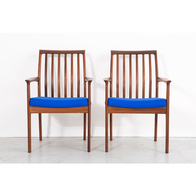 "set of ten dining chairs by Dux Sweden, c 1960s reupholstered in Maharam wool + teak 34 ⅜"" h x 19 ⅛"" w x 20 ½"" d x seat 17..."