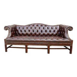 1970s Chesterfield Tufted Burgundy Leather Sofa For Sale
