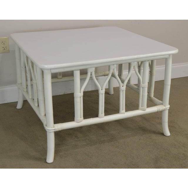 Ficks Reed White Painted Square Rattan Coffee Table For Sale - Image 12 of 13