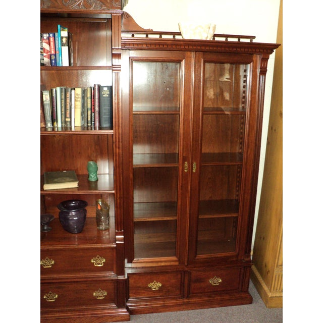 Cherry Wood Antique Cherry Bookcase Display Cabinet For Sale - Image 7 of 8