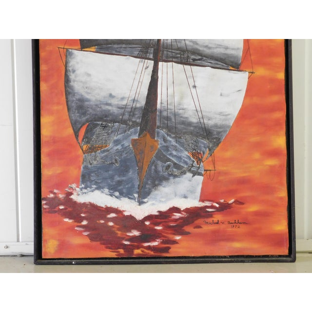 1972 Vintage Mid Century Sailboat Ship Painting by Michael V. Beckham For Sale In Dallas - Image 6 of 9