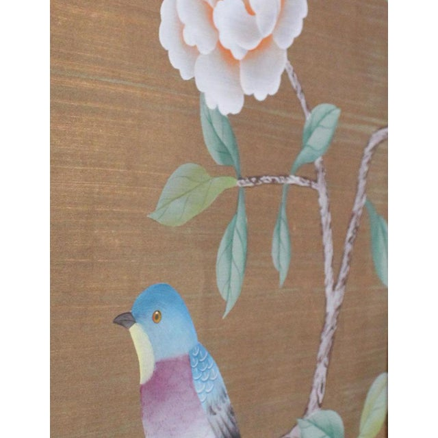 Chinoiserie Vintage Hand-Painted Chinoiserie Wallpaper Remnant Diptych Rendered on Copper Silk - 2 Pieces For Sale - Image 3 of 5
