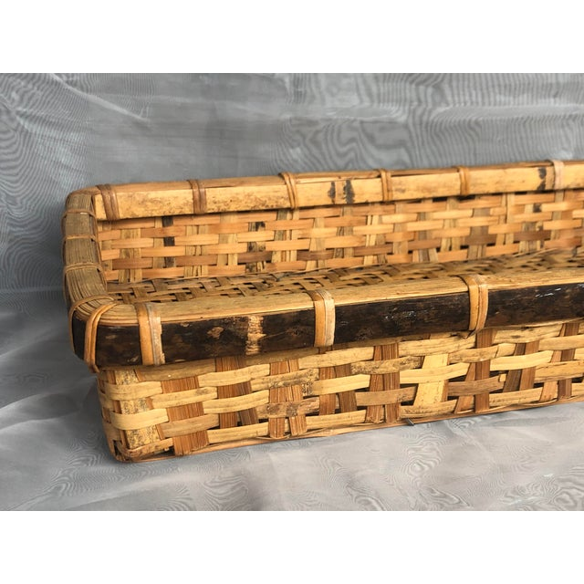 Late 20th Century Large Woven Bamboo Tray Basket For Sale - Image 10 of 13