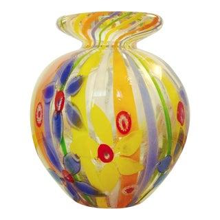 Exquisite Murano Millefiori Blown Glass Vase For Sale