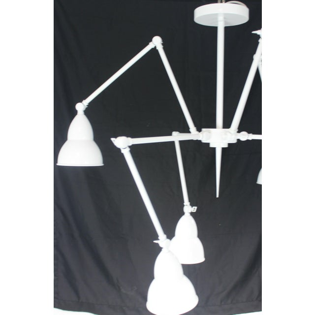 White Mid-Century Adjustable Arm Chandelier For Sale - Image 8 of 8