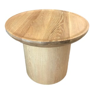 Modern Low Round Pedestal Side Table in Cerused Oak by Martin and Brockett For Sale
