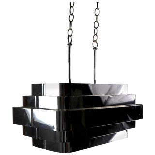 Bright Chrome Louvered Band Chandelier Attributed to Sonneman For Sale