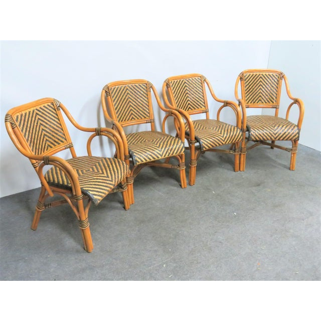 Wood Mid Century Rattan Basket Weave Arm Chairs- Set or 4 For Sale - Image 7 of 7