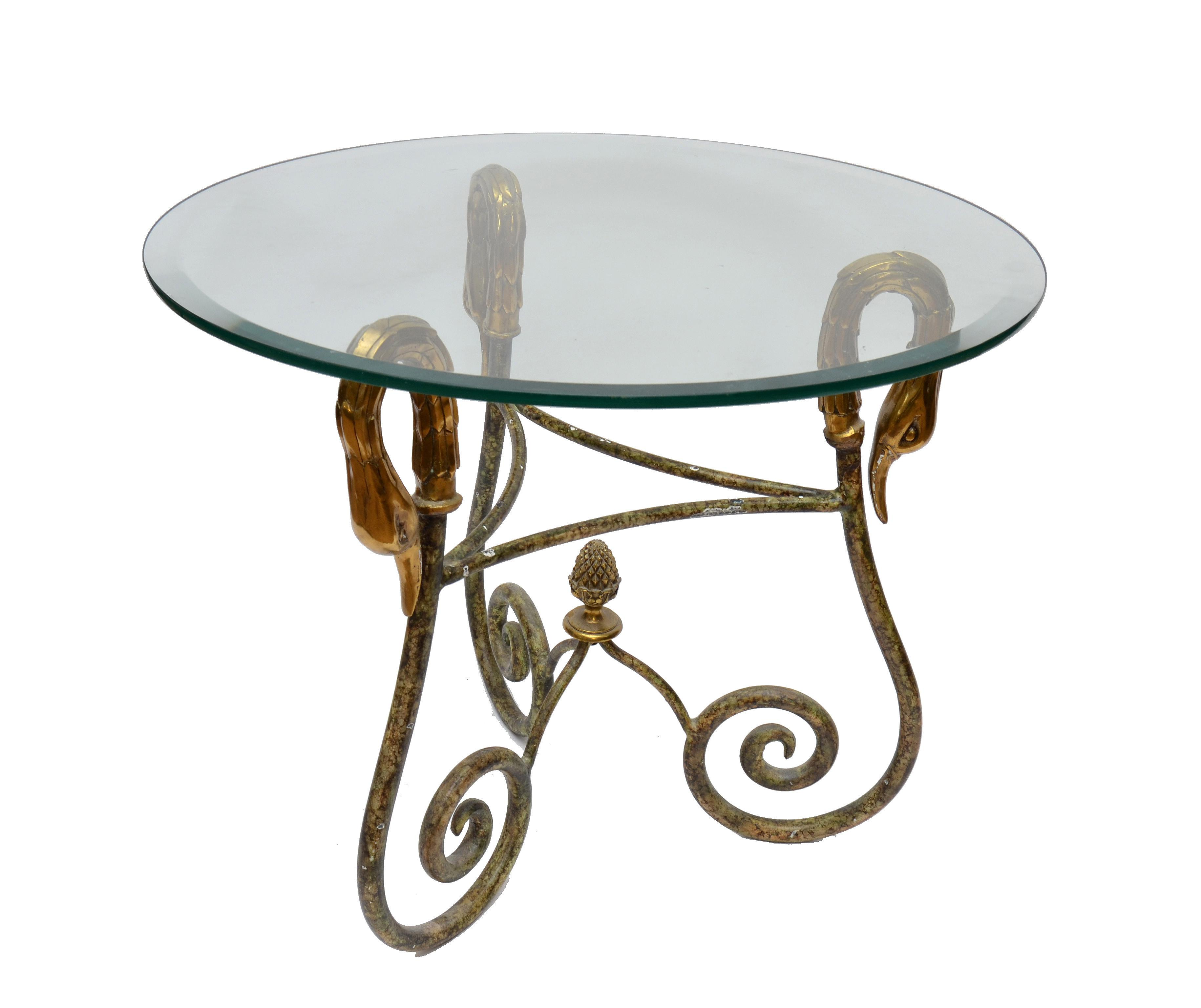 Wrought Iron Side Table From Italy With Brass Swan Heads   Image 2 Of 10