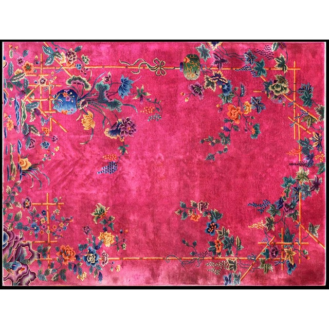 1920s Chinese Art Hot Pink Deco Rug - 8′8″ × 11′ For Sale In New York - Image 6 of 6