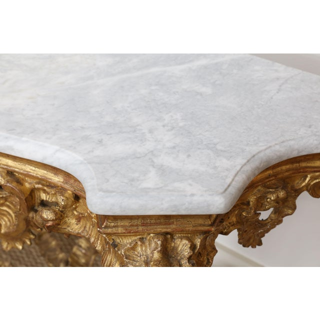 Gold Gilt Console With Custom Cut Marble Top For Sale - Image 4 of 12