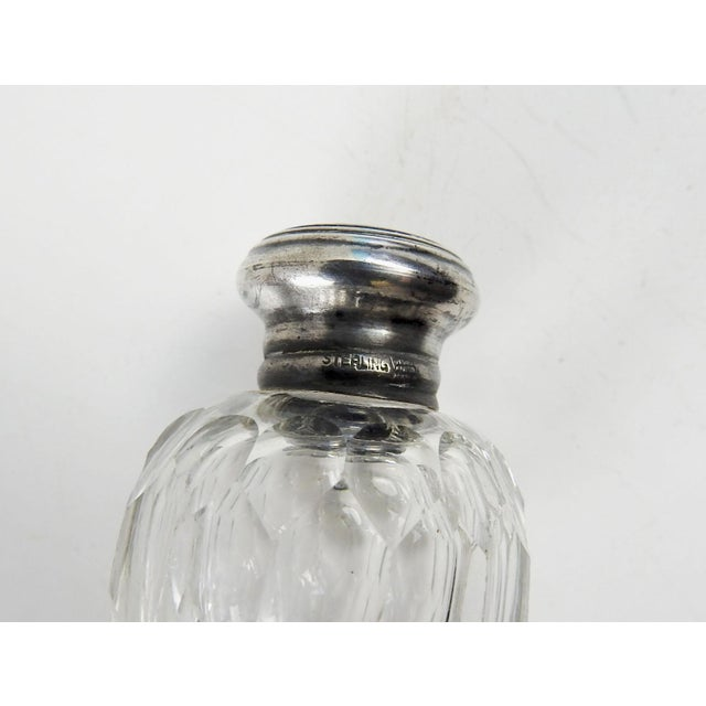 Art Deco Antique Crystal & Sterling Salt & Pepper Shakers - A Pair For Sale - Image 3 of 4