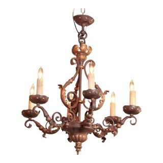 19th Century French 6-Light Iron Chandelier With Verdigris & Gilt Finish For Sale