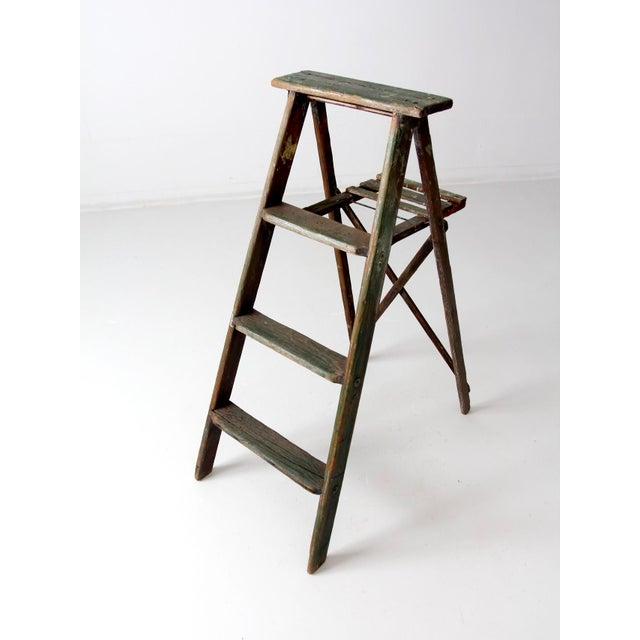 Industrial Vintage Green Wood Ladder For Sale - Image 3 of 9