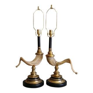 1970s Chapman Faux Ram's Horn Lamps - a Pair For Sale