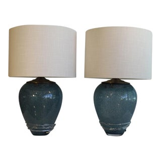 A Pair Of Teal Murano Glass Lamps For Sale