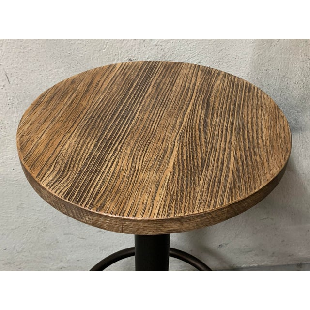 2010s New Round Folding Bistro Table With Wood Top & Iron Base For Sale - Image 5 of 7