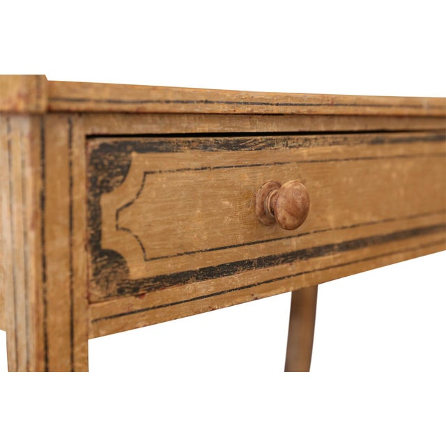 English side table or washstand, with single full length drawer, dry-scraped back to its original 19th century paint and...