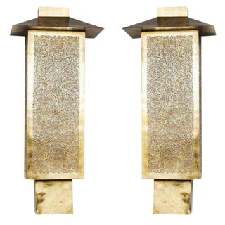 Pair of Brass Tall Wall Sconces For Sale