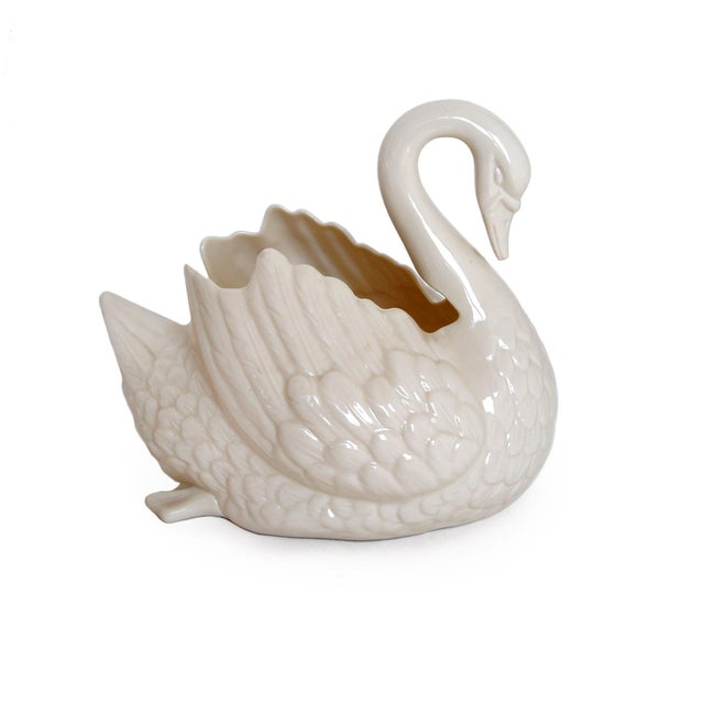 Vintage Lenox White Porcelain Swan Planter For Sale