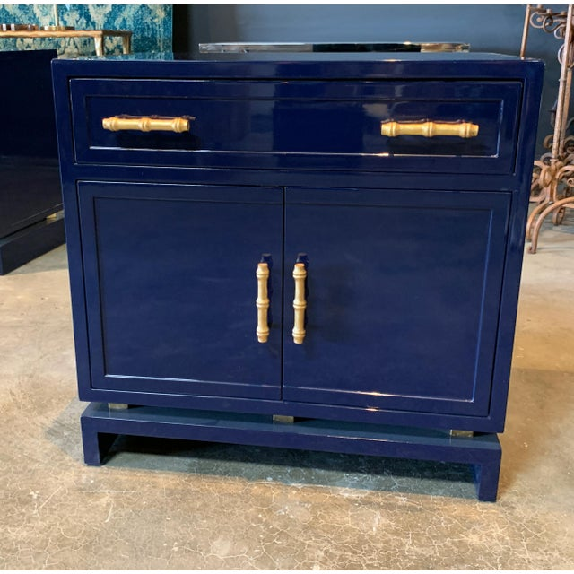 Worlds Away Navy Lacquer Nightstand For Sale In New York - Image 6 of 7