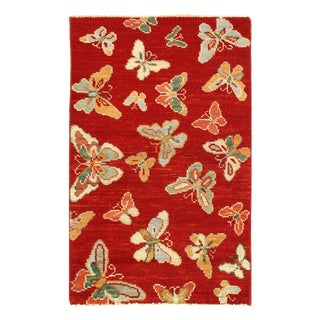 "Pasargad Modern Butterfly Kaleidoscope Rug- 2'5"" X 4' For Sale"