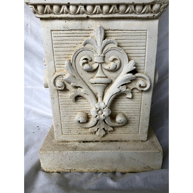 Mid 20th Century Vintage Mid Century Cast Stone Fruit Basket Finials on Pedestals- a Pair For Sale - Image 5 of 11