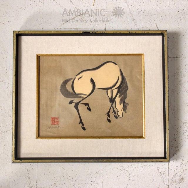 set of 3 mid century modern japanese horse art frames wood block print image 3 - Mid Century Picture Frames