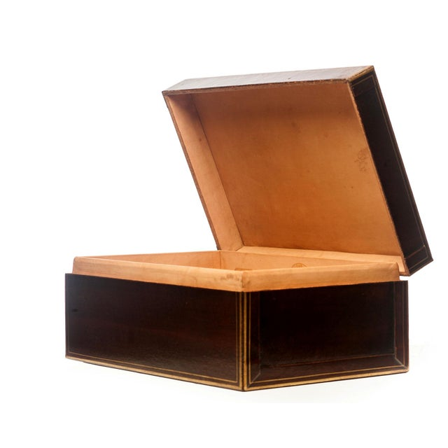 Lawrence & Scott Regalia Leather Box in Mahogany With Brass Stand as Side Table For Sale - Image 11 of 11
