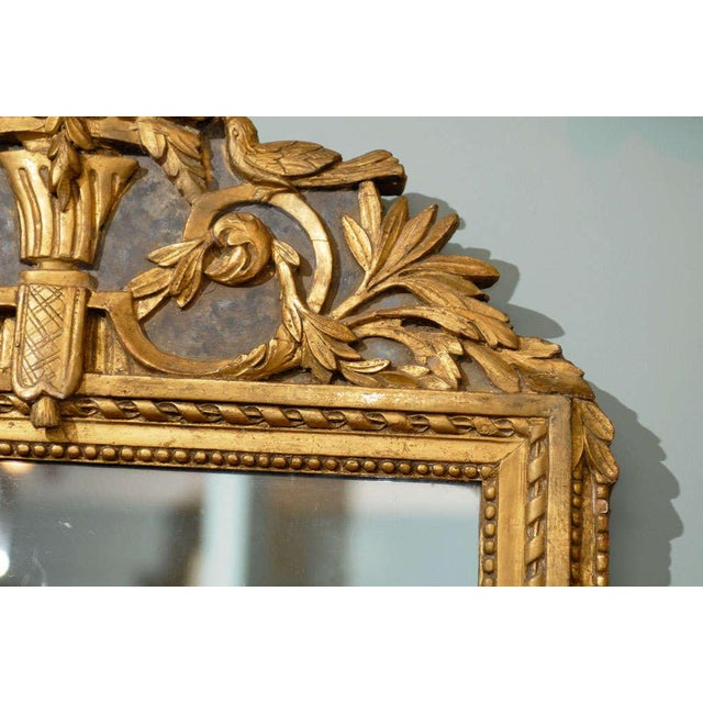 Gold French 19th Century Gilded Carved Mirror With Bird and Rose Motifs For Sale - Image 8 of 11