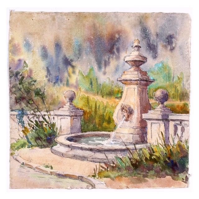Monory French Garden Fountain Watercolor - Image 1 of 4
